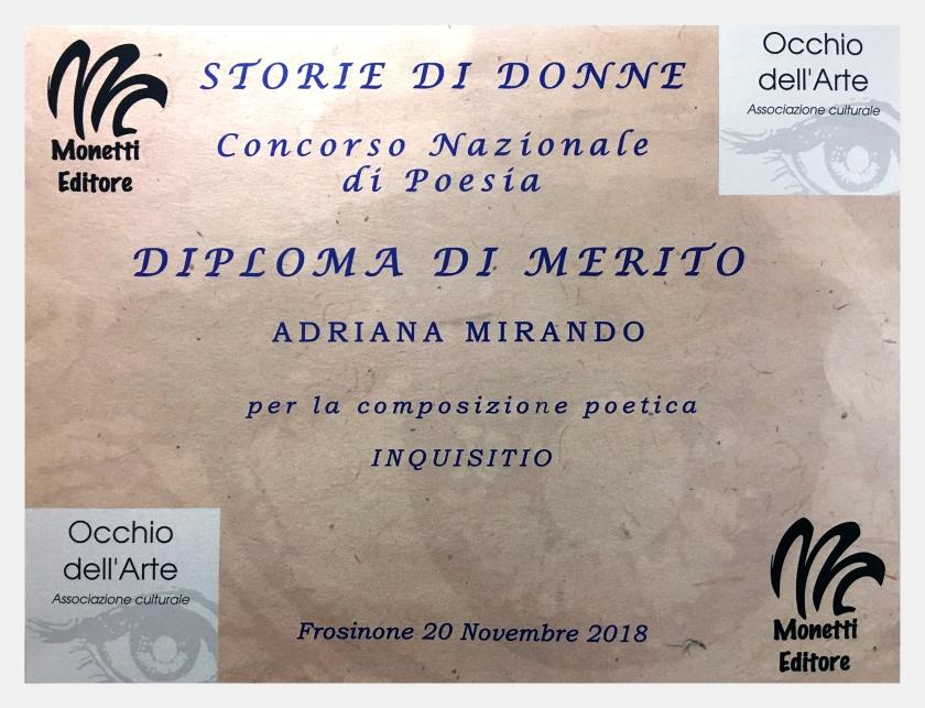 Diploma di merito di Adriana Mirando per la poesia INQUISITIO